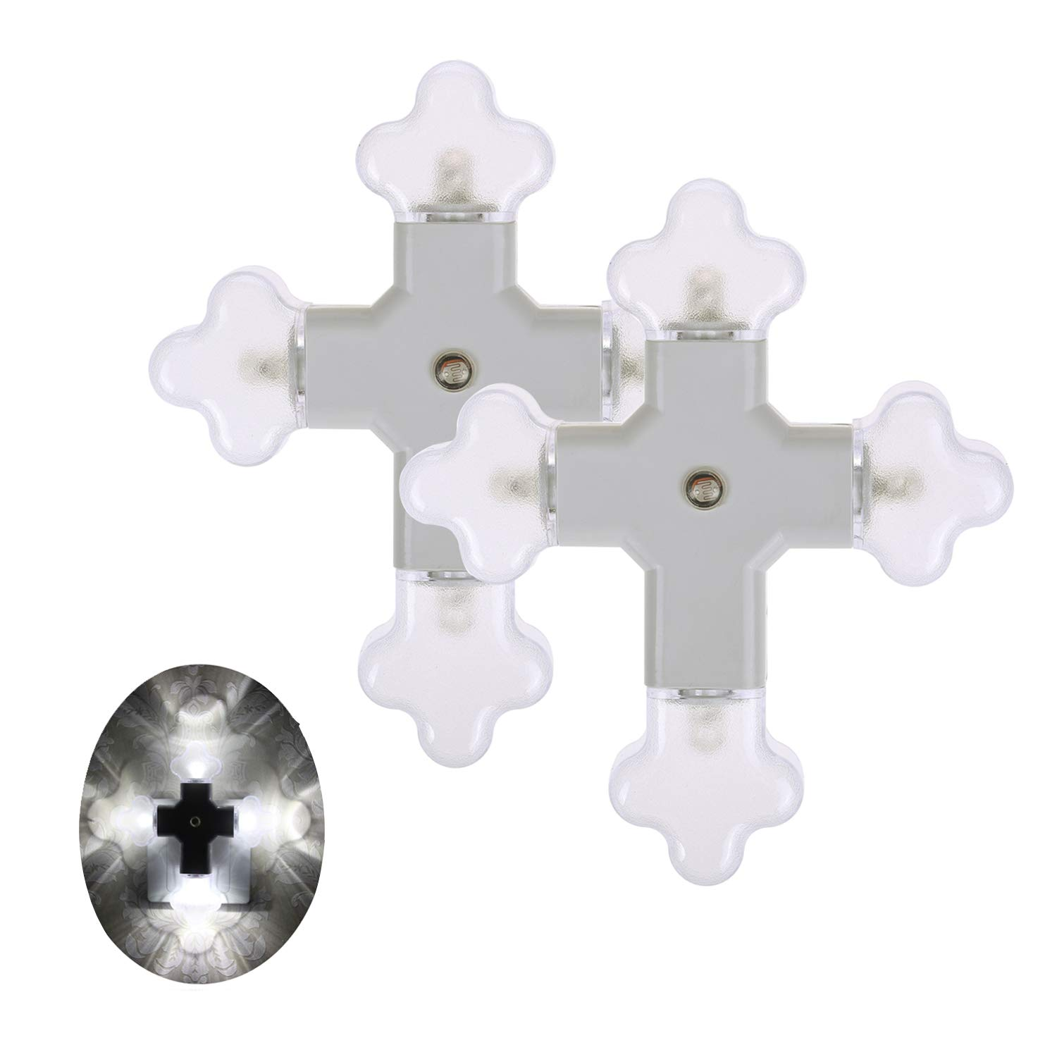 Cross-in LED Night Light Four Flower Lamp with Dusk to Dawn Sensor for Hallway, Kitchen, Bathroom, Bedroom, Stairs or Any Dark Room, White Light,0.3W/pc,2-Pack