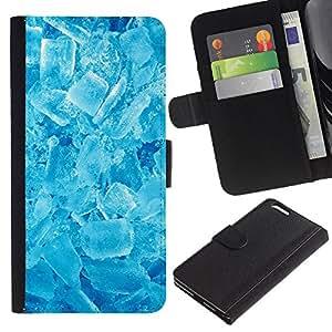 LASTONE PHONE CASE / Lujo Billetera de Cuero Caso del tirón Titular de la tarjeta Flip Carcasa Funda para Apple Iphone 6 PLUS 5.5 / Winter Cool Ice Crystals Refreshing Snow