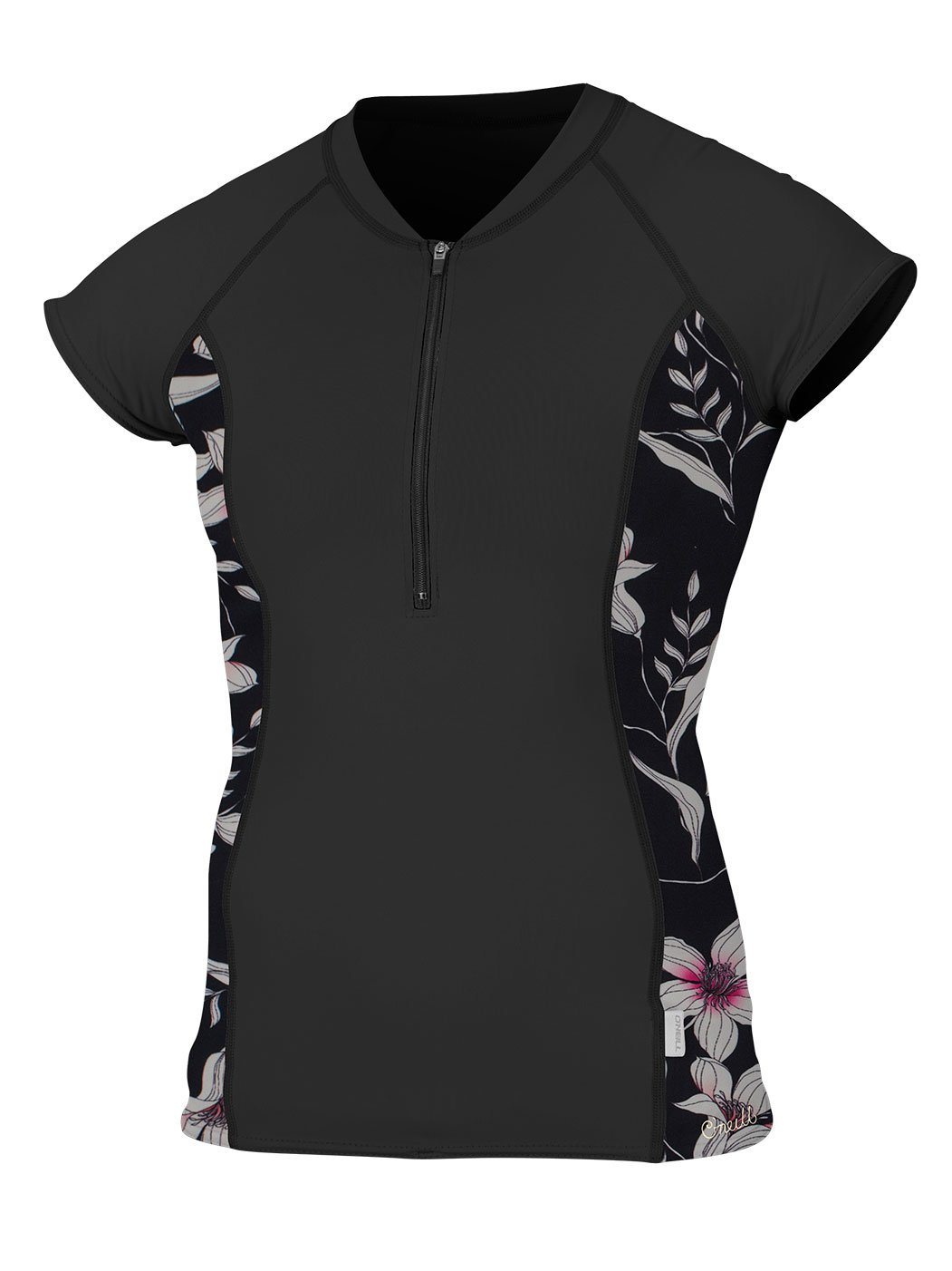 O'Neill Women's Cap Sleeve Sun Shirt Front Zip Black/Albany Floral Small