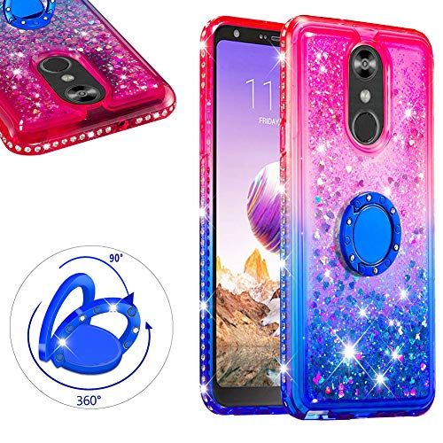 LCHDA for LG Stylo 4 Liquid Glitter Case with Ring Holder Bling Diamond Bumper Cover Floating Flowing Quicksand Stand Kickstand For LG Q Stylus - Pink + - Pink Watch Diamonds Floating