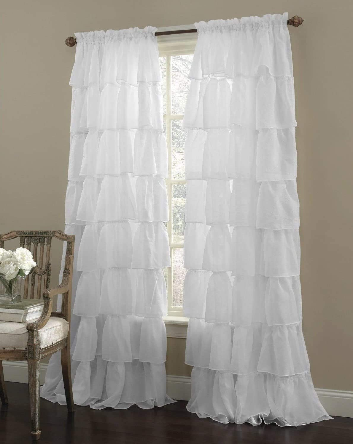 Decotex 2 Piece Gypsy Ruffled Shabby Chic Crushed Voile Sheer Window Curtain Treatment Panel Drapes White, 55 X 95