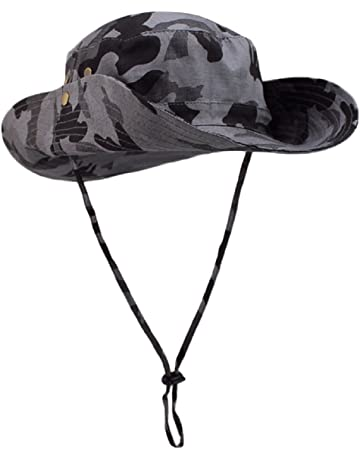 Butterme Large Brimmed Military Jungle Camouflage Pattern Fishing Hats with  Chin Strap SUN UV Protection Bucket 578bd5e2c29d