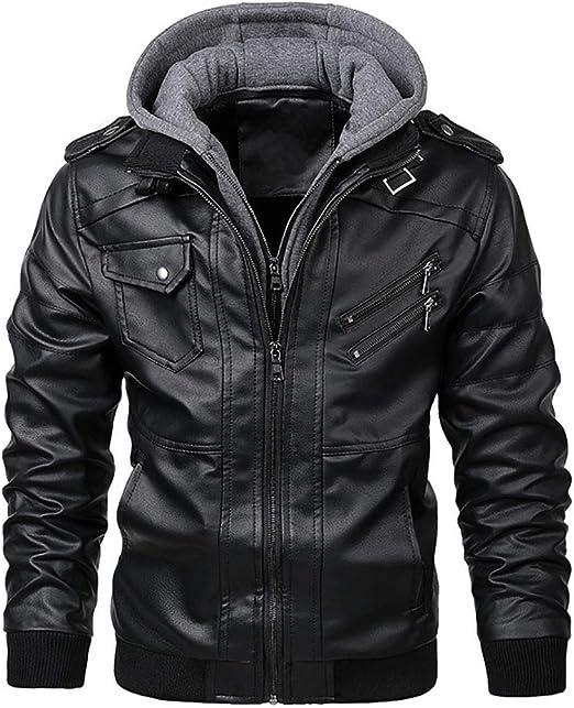 メンズフェイクレザージャケットフード付きフリースボンバージャケットコート取り外し可能なフード付きヴィンテージバイクジャケット