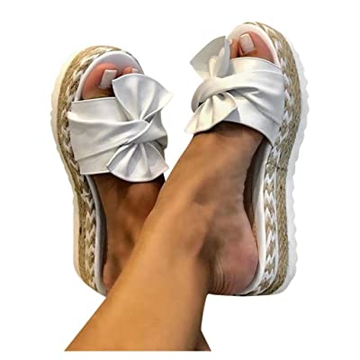 Womens Platform Sandals, Ulanda Women's Summer Sandals Slip-On Bow Flat Open Toe Breathable Sandals Weave Shoes: Clothing