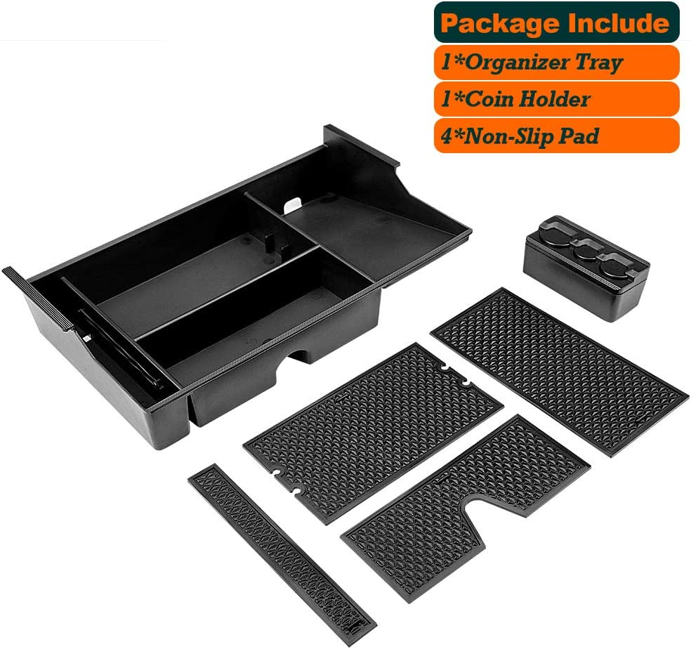 Center Console Organizer Tray Fit for 2007-2019 Toyota Tundra 2008-2019 Toyota Sequoia Black Insert ABS Materials Armrest Box Secondary Storage