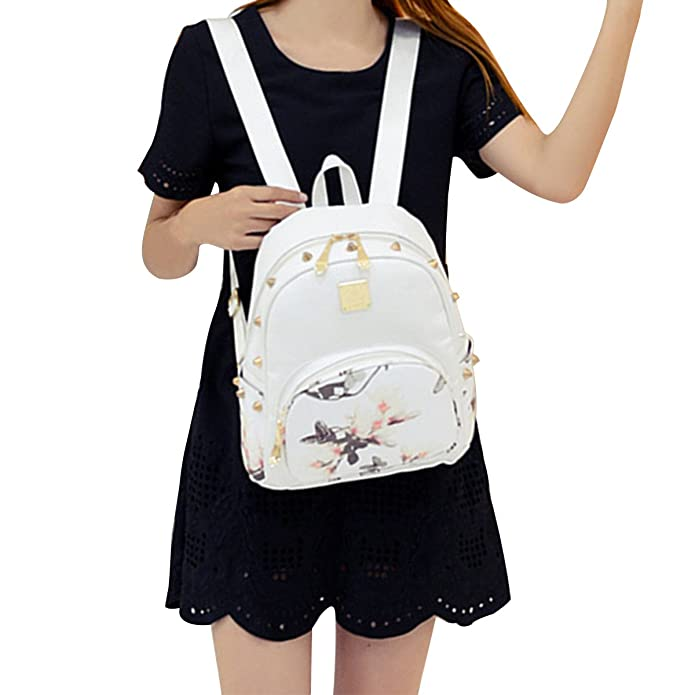 8fa4761665d2 ABAGE ABage Girl s Mini Backpack Casual Faux Leather Studded Floral Travel  Backpack Purse  Amazon.in  Shoes   Handbags