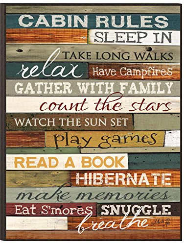 P. GRAHAM DUNN Cabin Rules Colorful Distressed Wood 16 x 12 Wood Wall Art Sign Plaque