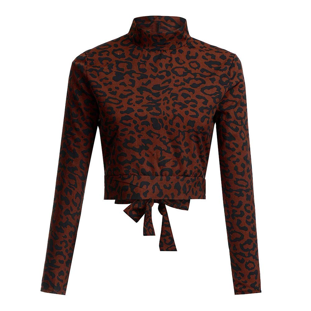 Womens Clothes, Hotsellhome Women's Turtleneck Backless Leopard Print Long Sleeve Blouse T-Shirt Top Hotsellhome Women' s Turtleneck Backless Leopard Print Long Sleeve Blouse T-Shirt Top