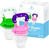 Baby Fruit Feeder Pacifier (2 Pack) - Fresh Food Nibbler, Infant Fruit Teething Toy, Food Grade Silicone Pouches for…