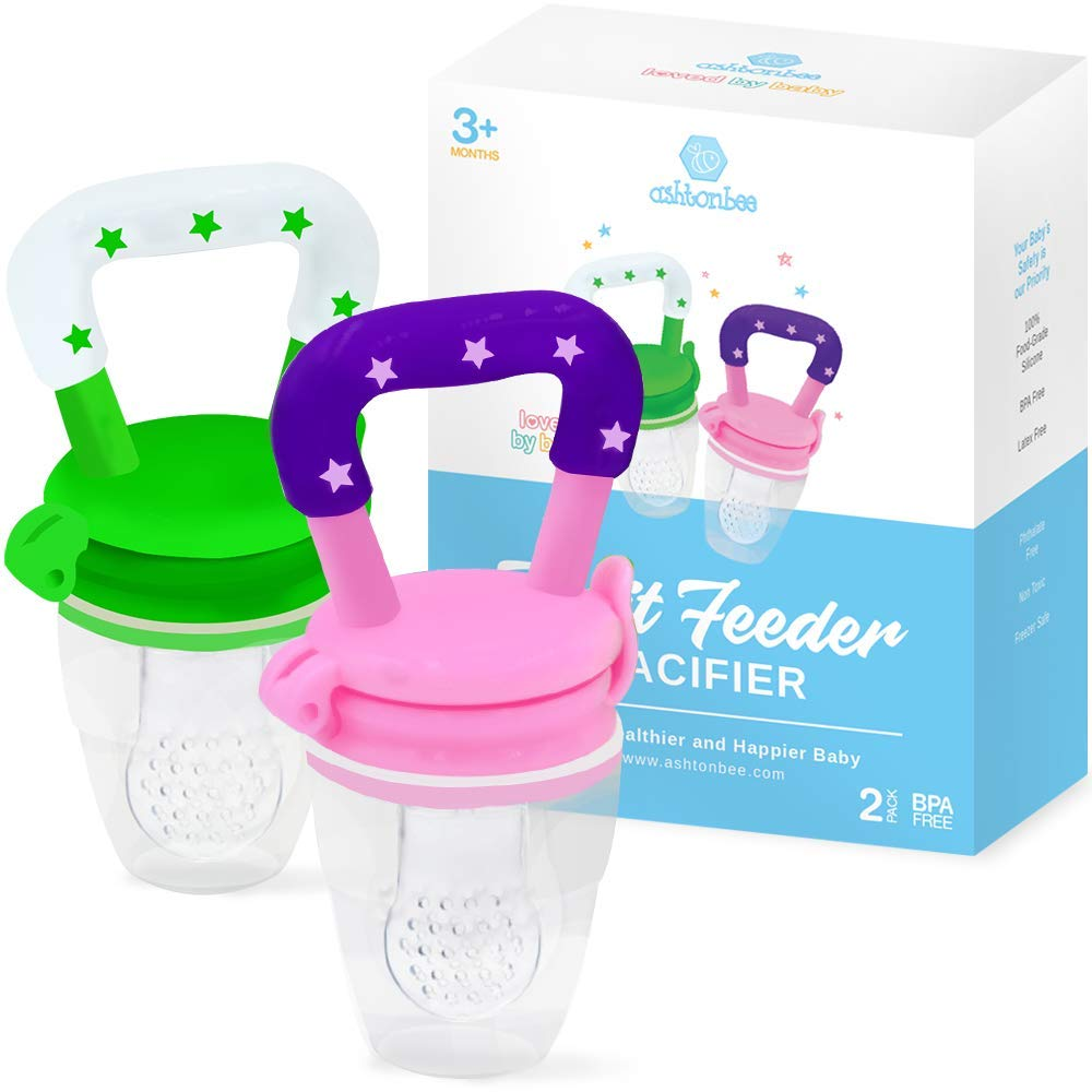 Baby Fruit Feeder Pacifier (2 Pack) - Fresh Food Feeder, Infant Fruit Teething Toy, Silicone Pouches for Toddlers & Kids by Ashtonbee by Ashtonbee (Image #1)
