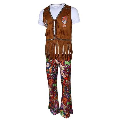 B Baosity Hippie Disfraz Adulto Hombres 60s 70s Maravilloso ...