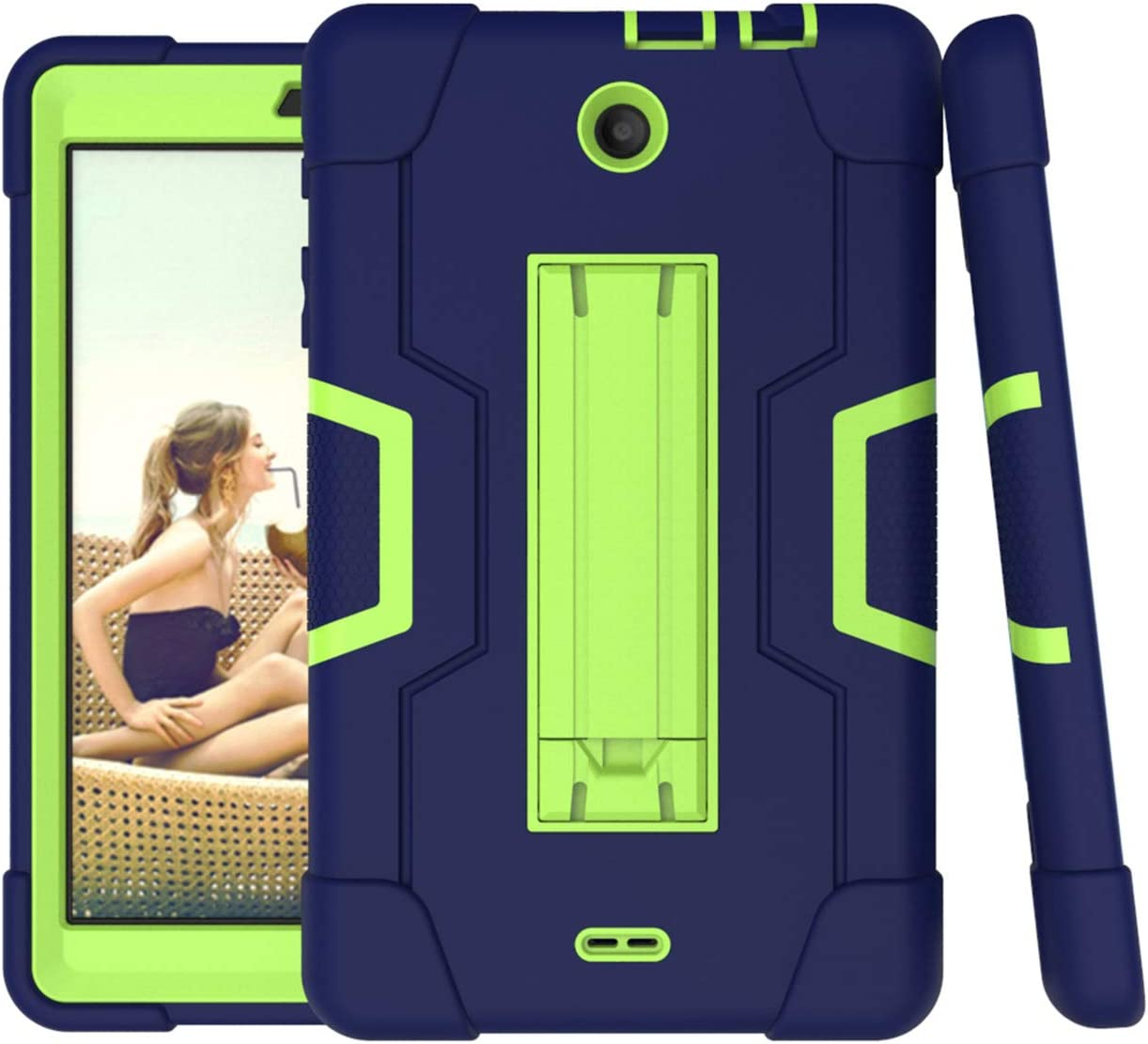 For Alcatel 3T 8.0 Case,Alcatel Joy Tab 8.0 Case,Cherrry Heavy Duty Rugged Hybrid Shockproof Full-Body Protective Case Build in Kickstand(Navy/Green)