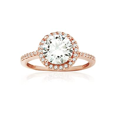 df4246b52 Hoops & Loops Rose Gold Flashed Sterling Silver Halo Engagement Ring  created with Zirconia from Swarovski