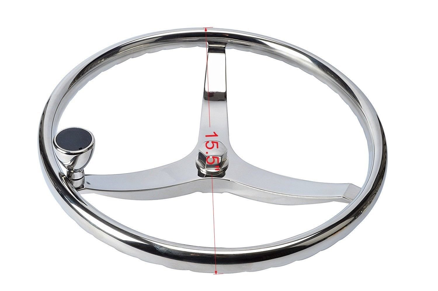 Amarine-made Stainless Steel Boat Steering Wheel 3 Spoke 15-1/2'' Dia, with 5/8'' -18 Nut and Turning Knob for Seastar and Verado