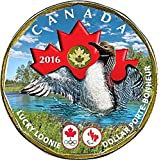 Canada 2016 Olympic & Paralympic Games Coloured Lucky Loonie Plated Gold 24k (Rare)