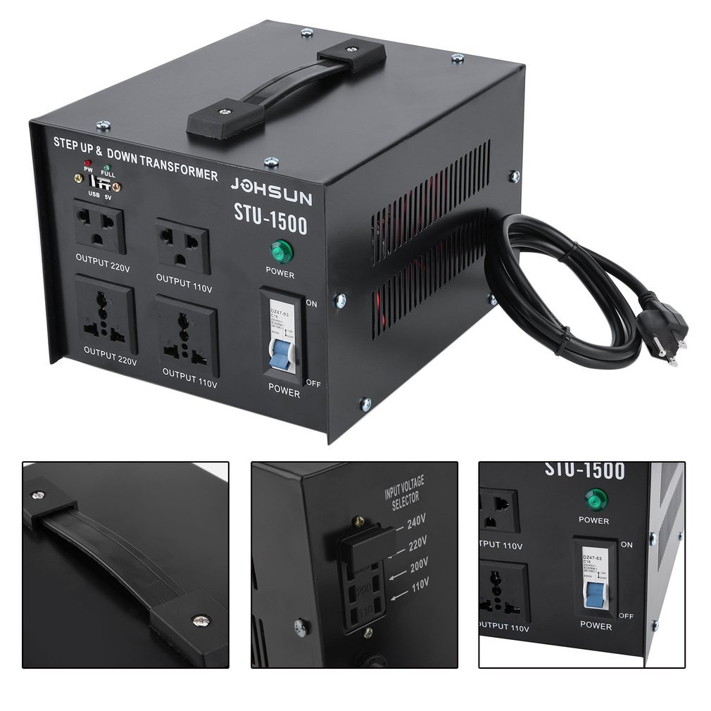 Homgrace 1500 W Voltage Converter Transformer With Usb Step Up Down 110v 220v Circuit Breaker Protection Port Heavy Duty And To