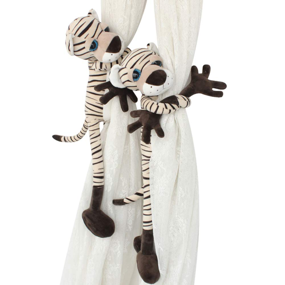 Grace life 1 Pair Long Legs Animal Style Curtain Tieback Baby Kids Room Window Screens Decoration Holdbacks Window Treatment Curtain Tieback Tie Back Decor Toy Holdbacks (Tiger)