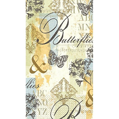 Amscan Butterfly Collage Guest Towels Party Disposable Tableware and Supply, Paper, 2 Ply, 8'' x 4'', Pack of 16. by Amscan