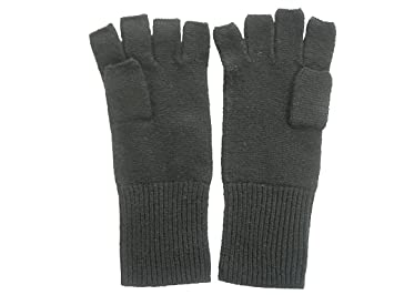 c661c1414280f Amazon.com: Black Pure 100% Cashmere Fingerless Half Finger Gloves ...