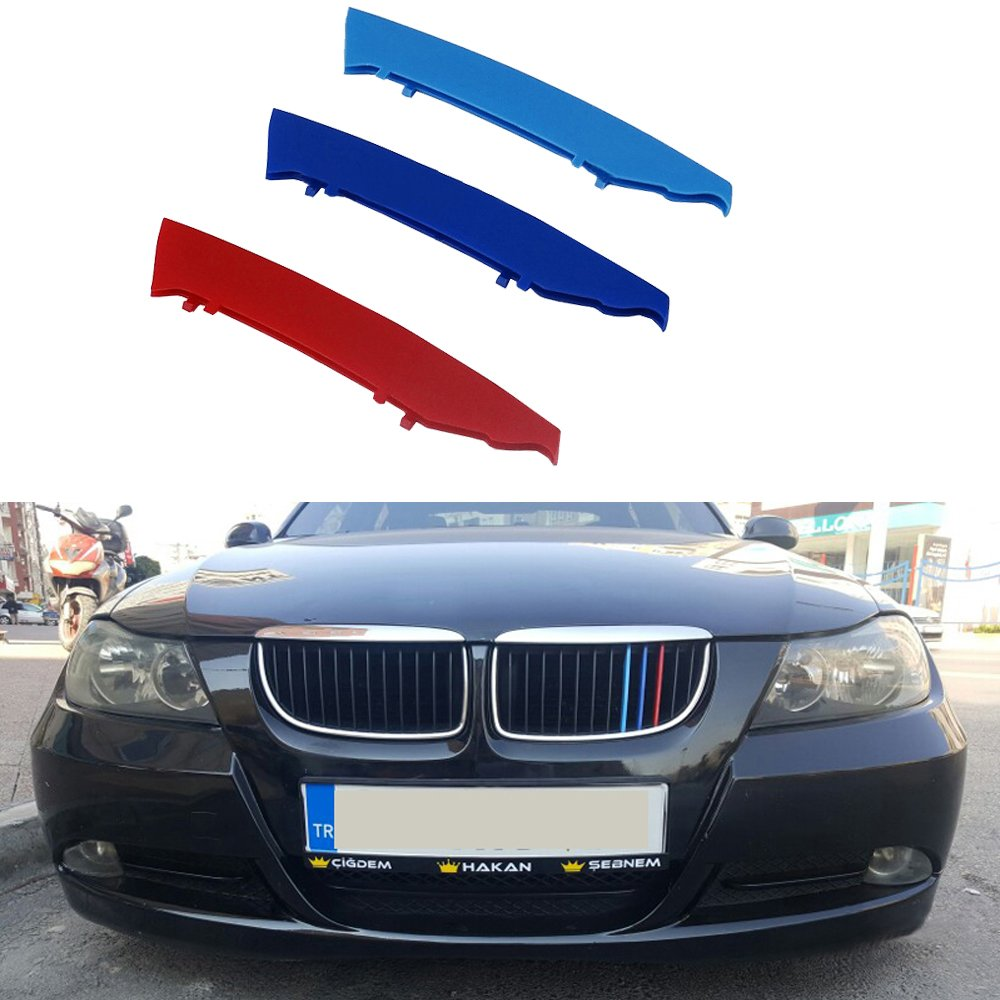 muchkey 3D M Car Front Grille Insert Trim Strips grill Cover motorsport Stickers For 2005-2008 E90 E91(12 Grilles)