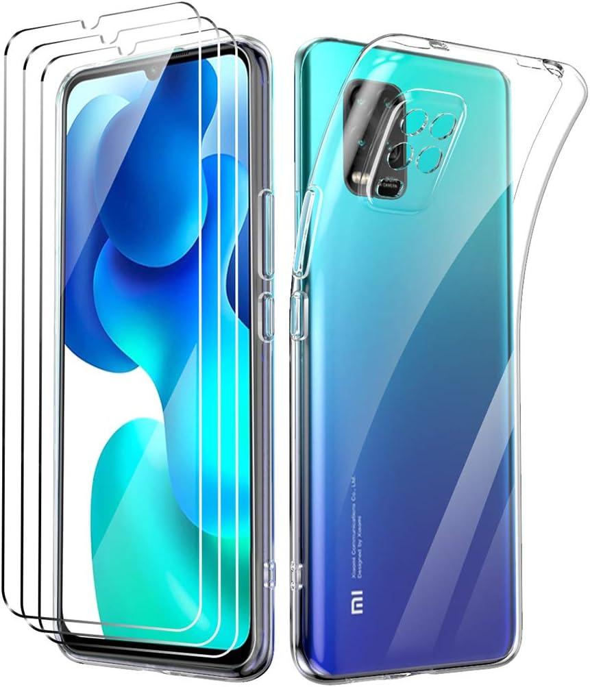 Oududianzi Funda para Xiaomi Mi 10 Lite 5G +[3X Protectores de Pantalla in Cristal Templado], Carcasa Blando Delgado Claro Funda de Silicona Gel TPU - Transparente