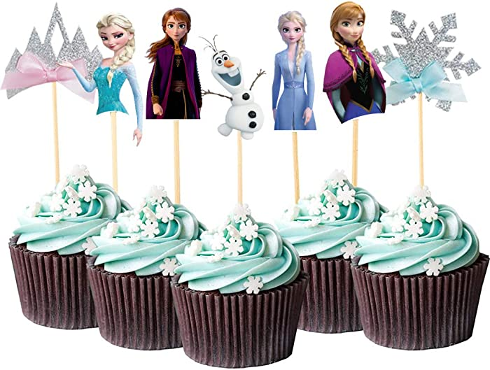 Frozen Cupcake Topper Cake Decoration for Princess Themed Baby Shower Birthday Party Decoration Food Picks - Set of 28