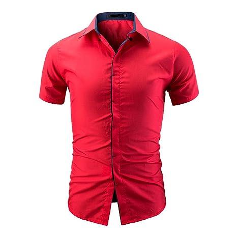 Camisas hombre Camisa de manga corta de color puro de los hombres camiseta,YanHoo impresa