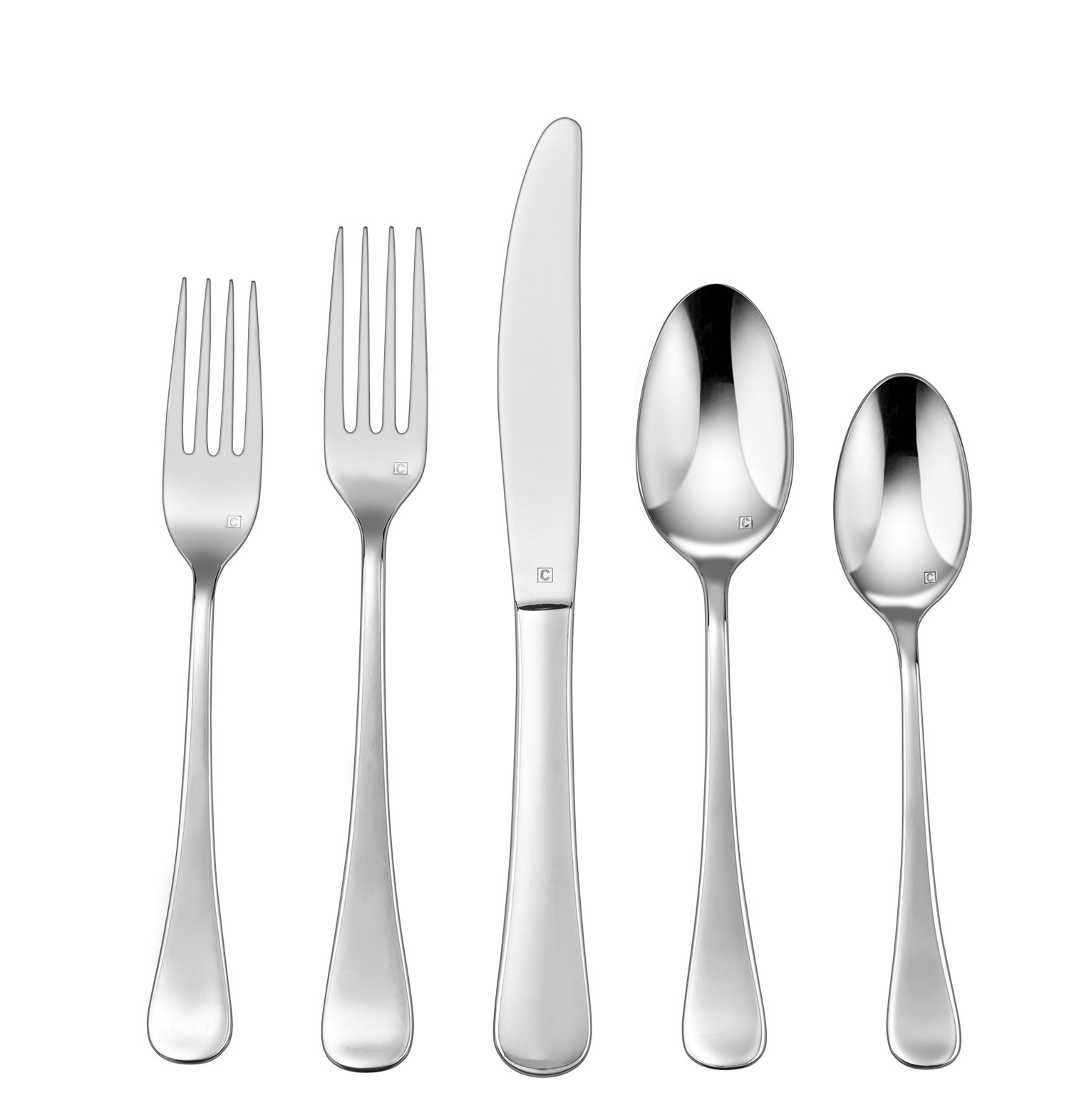 Cuisinart CFE-01-T20 20-Piece Flatware Set, Trevoux - Each piece is handcrafted of the finest heavy-gauge stainless-steel Careful attention to detail from design through manufacturing to create a unique dining experience Large continental-sized pieces - kitchen-tabletop, kitchen-dining-room, flatware - 61kuDiQAhhL -