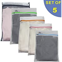 Set of 5 Mesh Laundry Bags -1 Jumbo, 2 Extra Large & 2 Medium for Laundry, Use in Both Washing Machine and Dryer, Blouse, Hosiery, Stocking, Underwear, Bra and Lingerie, Travel Laundry Bag