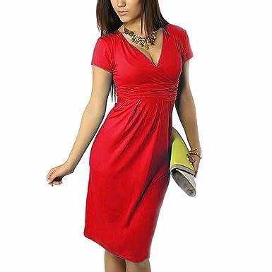 MissyLife Women s V Neck Short Sleeve Empire Waist Ruched Knee Length  Bodycon Midi Dress (Red ff7f1e829