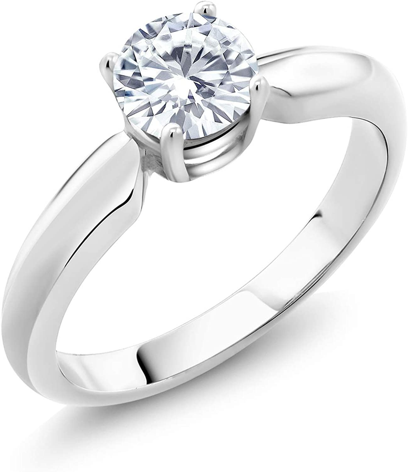 925 Sterling Silver Created Moissanite from Charles & Colvard Women Solitaire Engagement Ring (0.50 Cttw, Round Forever Classic, Available in size 5, 6, 7, 8, 9)
