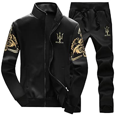 60c06388f627 Lavnis Men s Casual Tracksuit Long Sleeve Full-Zip Running Jogging Sports  Jacket and Pants Black