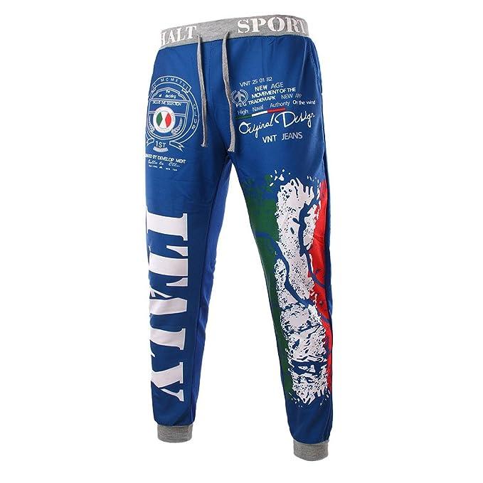 YanHoo Pantalones Hombres de Moda con cordón Cintura elástica de impresión Suelta Pantalones Deportivos Mallas Militar