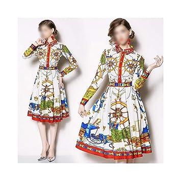 Vestido de Mujer Vestido de Manga Larga con Estampado Vintage y ...
