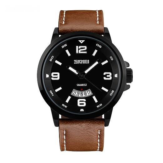 0b1f9ffeadc8 Reloj de pulsera para hombre de cuarzo con correa de cuero de color marrón