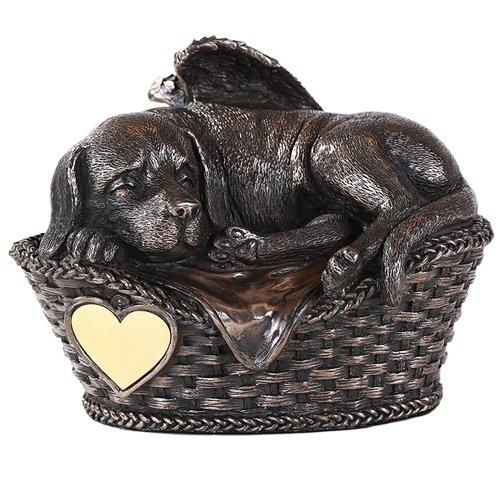 Pet Memorial Angel Dog Sleeping In Basket Cremation Urn Bronze Finish Bottom Load 45 Cubic Inch (Pet Resin Basket)