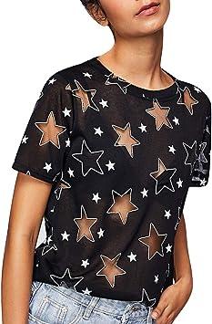 Ronamick Costura Color de ContrasteTops Deportivos Niña Fiesta Camisetas Verano Mujer Blusa Negra Mujer Fiesta Fiesta Camisa Medieval Mujer(Negro,S): Amazon.es: Hogar