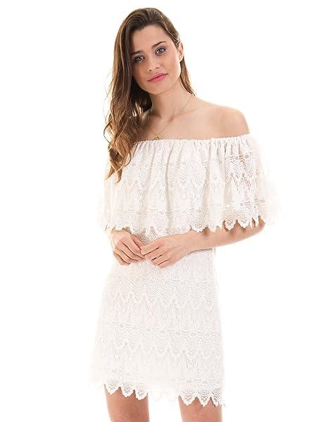 Vestido ibicenco encaje Viwoodstock de Vila Clothes (M - Blanco)