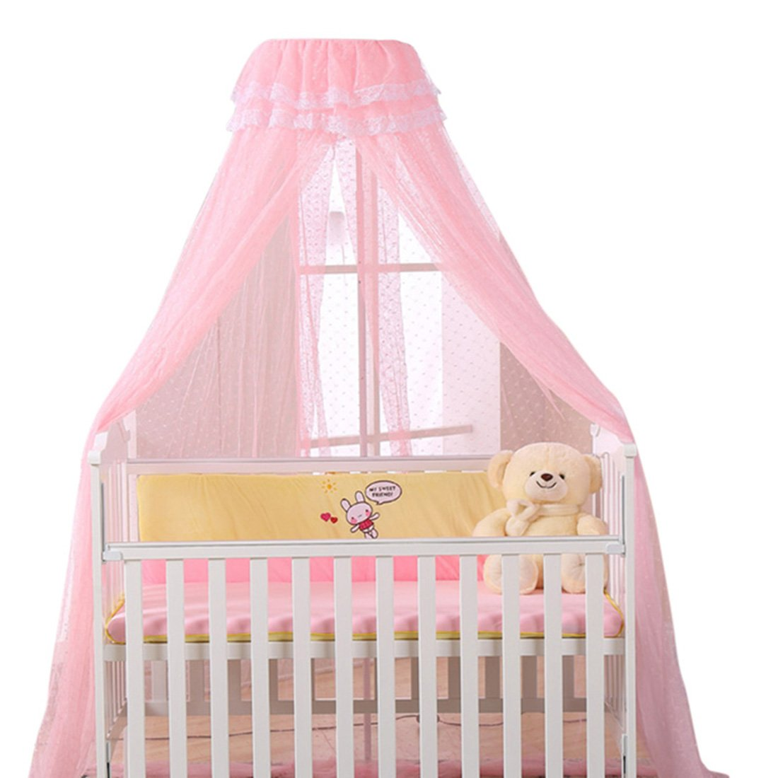 Jiyaru Baby Mosquito Net Lace Dome Nursery Netting Toddler Bed Crib Canopy Pink Net + Holder