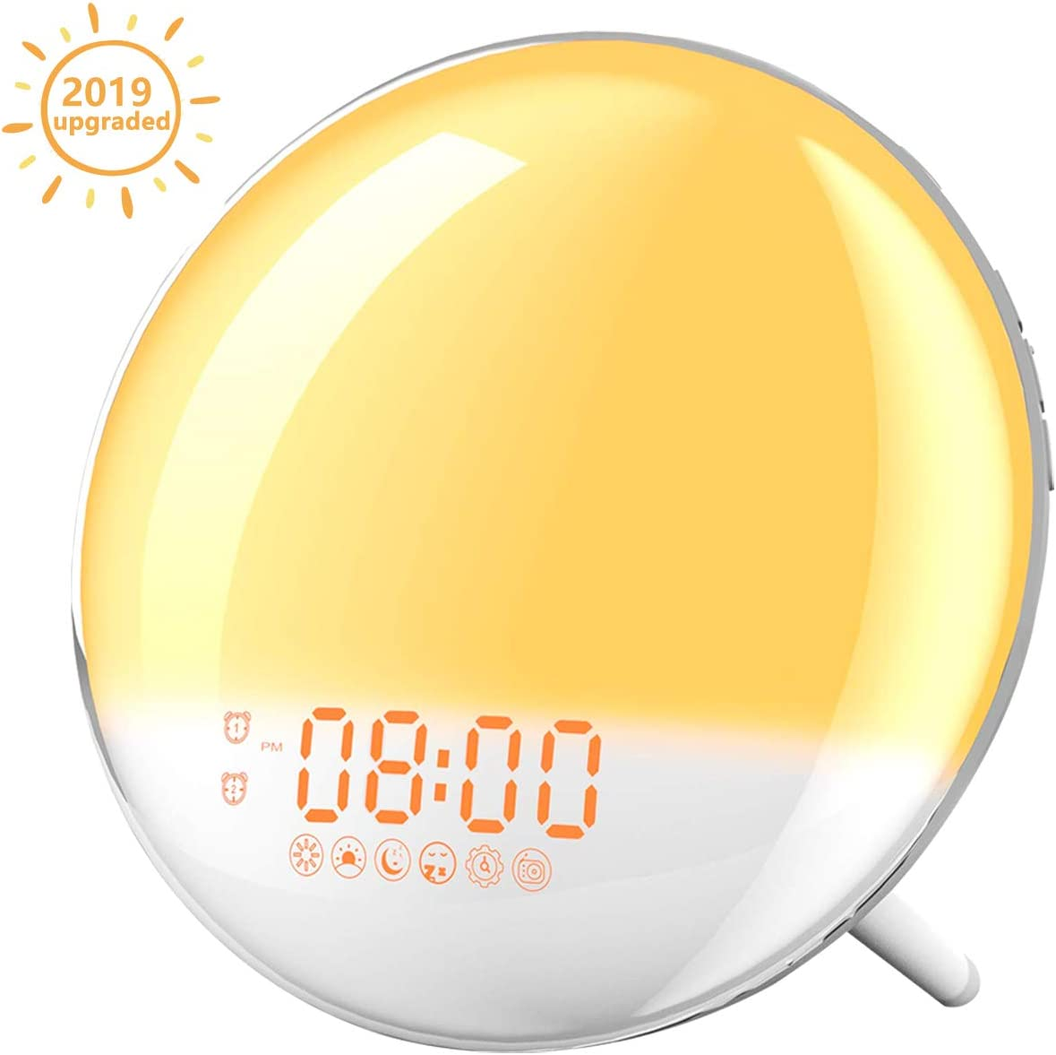 Sunrise Alarm Clock, AUSPICE Wake Up Light with FM Radio Dual Alarm 7 Nature Sounds Light Colors Snooze 20 Brightness, Sleep Aid Lamp Dawn Simulator for Kids as
