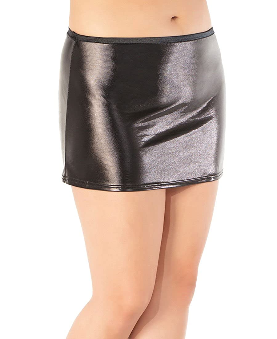 Coquette D915X Women's Plus Size Black Wetlook Skirt