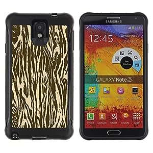 All-Round híbrido Heavy Duty de goma duro caso cubierta protectora Accesorio Generación-II BY RAYDREAMMM - Samsung Galaxy Note 3 - Zebra Wood Animal Pattern Brown
