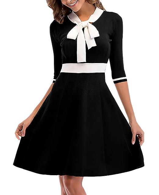 Vestidos De Mujer Vestidos De Fiesta Cortos Elegantes 3/4 Manga Niñas Ropa Bowknot Slim