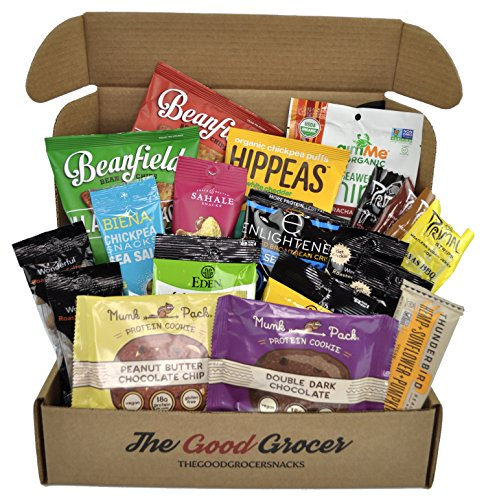 HIGH PROTEIN VEGAN Snacks Care Package (20ct): Healthy, Plant Based Protein, Non-GMO, Protein Bars, Protein Cookies, Vegan Jerky, Healthy Snacks Gift Basket, Fitness Workout Variety Pack