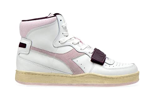 Diadora Sneakers Alte Donna Sport Modello Mi Basket Used in Pelle e camoscio Bianco con Logo Laterale in Tessuto Rosa e Velcro sulle stringe. Fondo in