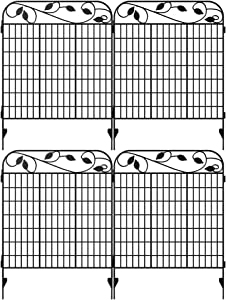 "Amagabeli Metal Garden Fence Border 44"" x 36"" x 4 Pack Heavy Duty Tall Rustproof Decorative Garden Fencing Panels Animal Barrier Outdoor Iron Edge Fencing for Landscape Folding Flower Bed Fence Gate"