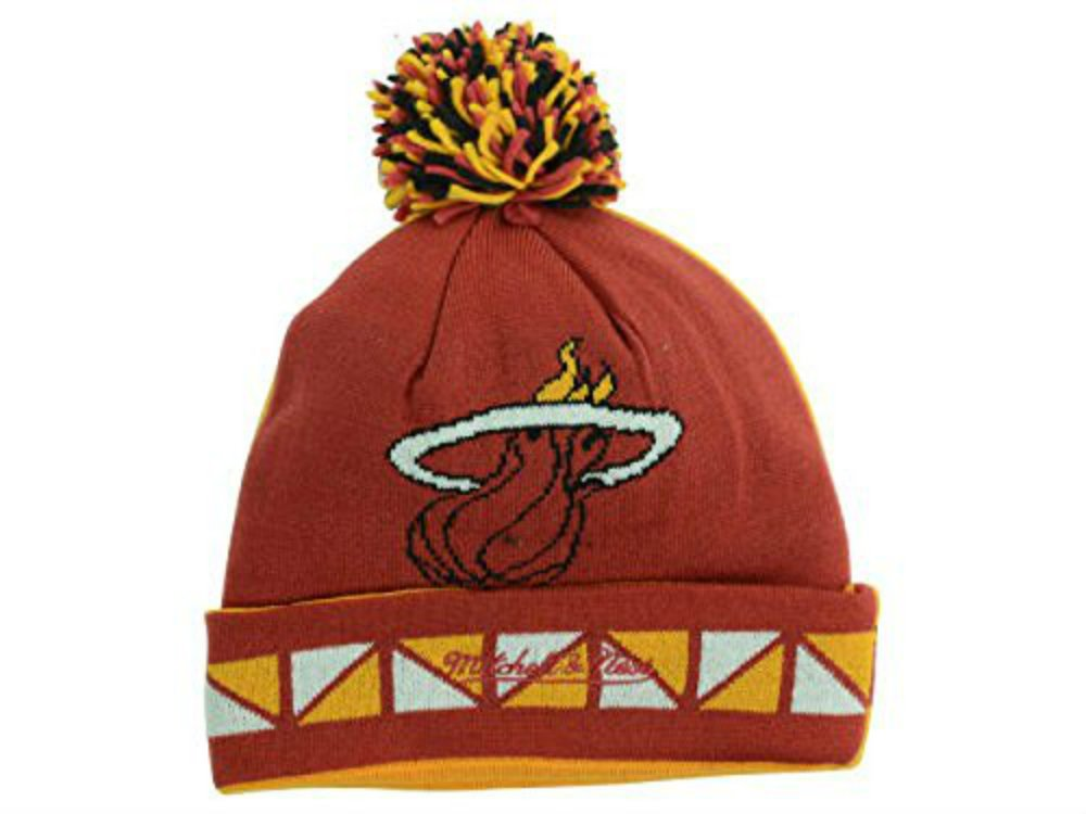 Mitchell /& Ness Los Angeles Clippers Cuff//Pom Knit Hat OSFA