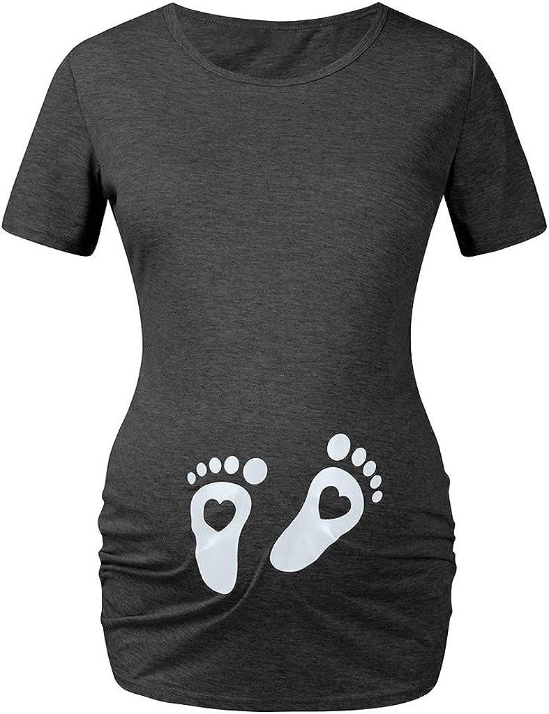 Cuteelf Schwangere Mutter T-Shirt Oben Kurzarm Rundhals Cartoon niedlichen Fu/ßabdr/ücke Druck Frauen Schwangere Frauen Kurzarm Baby F/ü/ße Herz Druck T-Shirt Cartoon Grafik Shirt