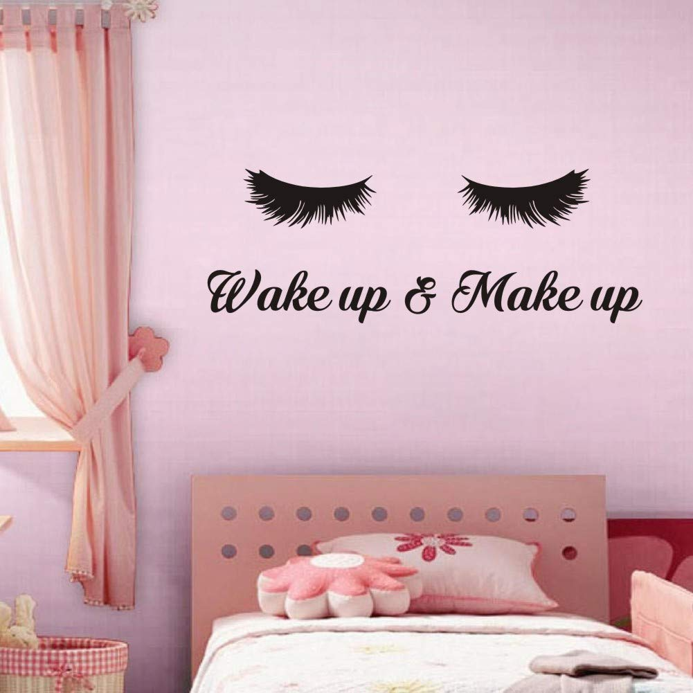 TOARTi Wake Up &Make Up Wall Decal Fashion Eyelash Wall Sticker Women Beauty Quote Sticker for Bedroom Decoration