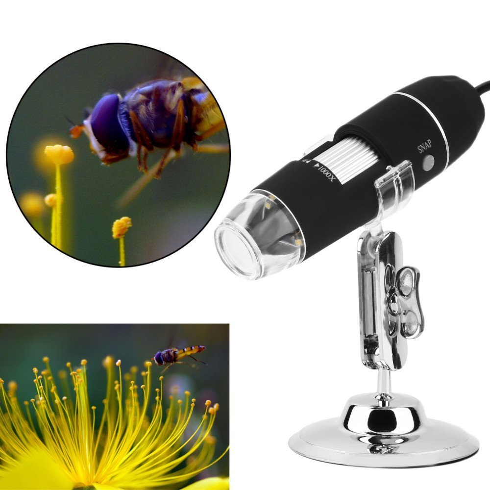 Zhenrong 20X 1000X USB Digital Microscope camera android 8 LED light 2.0MP HD Magnifying Glass Magnifier Endoscope Work with Windows Linux Vista Simple microscope 1000X.
